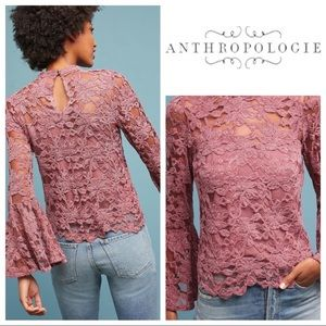 Anthropologie #212 Mauve Lace Bell Sleeve Top